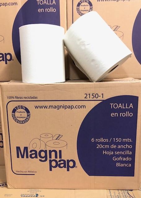 TOALLA EN ROLLO BLANCA MAGNIPAP 6/150 MTS